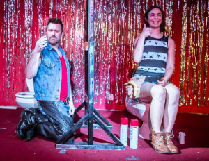 Jules on stage with Lizzy during his very first full boylesque act.